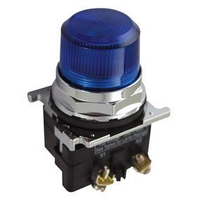 Eaton Pilot Light: 120V AC, 2.03 in Overall Lg, Transformer, Blue, For 120 V AC, Includes Bulb, For LED, Black, Chrome