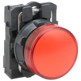 Schneider Electric Pilot Light: 120V AC, 2.13 in Overall Lg, Metal, Red, 100000 hr Avg Life, Plastic, Chrome