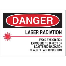 Brady Laser Sign: Danger, 7 in Overall Ht, 10 in Overall Wd, Aluminum, Mounting Holes