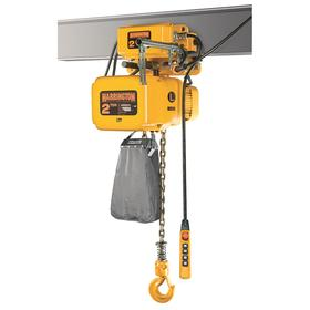 Harrington Continuous-Duty Harsh-Environment Electric Chain Hoist with Trolley: 20 ft Lift, Motorized, 230/460V AC, 17 ft/min Max Lift Speed