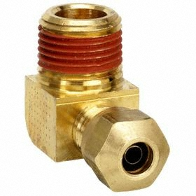 Parker Hannifin Air Brake Compression 90° Tube Elbow: Nylon, 5/8 in Port 1 Tube Size, 3/4 Pipe Size (Port 2), Male, NPT