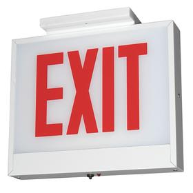 Acuity Lithonia Lighted Exit Sign: 1 Faces, Red, 11 1/4 in Overall Ht, 12 3/8 in Overall Lg, 4 1/2 in Overall Dp, Steel