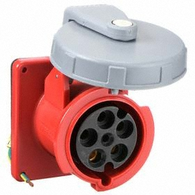 Hubbell IEC Non-Metallic Watertight Pin & Sleeve Female Receptacle: Three Phase, 5 Contacts, 60 Hz Volt Freq, 60 A Current, Nylon