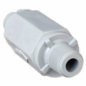 Check Valve: PVC, Viton, NPT, 1/4 in Size, 1 in Dia, 1 psi, 2 55/64 in Overall Lg, 125 psi Max Water Pressure