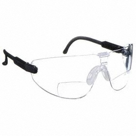 3M Bifocal Safety Reading Glasses: Clear, Frameless Frame, Anti-Fog/Scratch Resistant, Black, ANSI Z87.1-2003/CSA Z94.3-2007