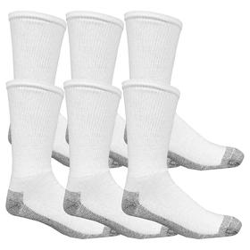 Socks: Men, White, 12 to 16 Men's Size, Cotton/Elastane/Other Fiber/Polyester, 6 PK
