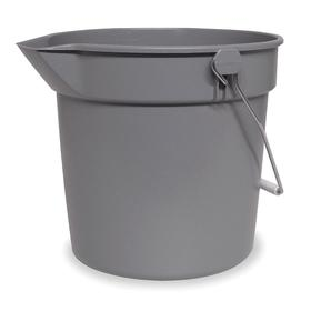 Pail: Round, Gray, Plastic, 2 1/2 gal Capacity, 10 1/4 in Dia, 10 1/4 in Overall Ht