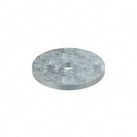 Oversized Flat Washer: Steel, Zinc Plated, Low Carbon Material Grade, For 1/4 in Screw Size, 0.282 in ID, 1.5 in OD, 5 PK