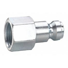 Quick-Disconnect Plug: 3/8 in Coupling Size, Steel, Buna-N, 3/8 Pipe Size, NPT, Female, 300 psi Max Op Pressure