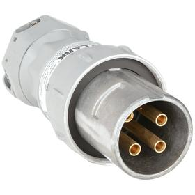 Hubbell Pin & Sleeve Plug: 3 Pins, 4 Wires, 600V AC, 60 A Current, Style 2 Grounding, Aluminum