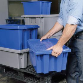 Akro-Mils Tote Lid: For 158U183/425W227, Plastic, Gray, 3/4 in Ht, 13 1/2 in Wd, 19 1/2 in Dp