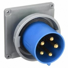 Hubbell IEC Non-Metallic Watertight Pin & Sleeve Male Receptacle: Three Phase, 5 Contacts, 60 Hz Volt Freq, 120/208V AC