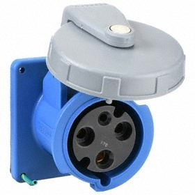 Hubbell IEC Non-Metallic Watertight Pin & Sleeve Female Receptacle: Single Phase, 3 Contacts, 60 Hz Volt Freq, 240V AC