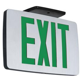 Hubbell Heavy Duty Metal Lighted Exit Sign: Aluminum, 1 Faces, Directional Indicators, Green, Batteries Required