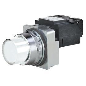 Siemens Pilot Light Complete Unit: 120V AC, Transformer, White, For Incandescent, Chrome, Screw Terminal, For 6 V AC