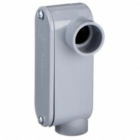 PVC Conduit Outlet Body Style L: 1 Trade Size, 11.8 cu in Capacity, 2.125 in Overall Ht, 6 in Overall Lg