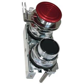 Eaton Multi-Head Push Button Switch: 30 mm Panel Cutout Dia, 2 Operators, Non-Illuminated, No Legend, Maintained, Round, Black/Red, Silver