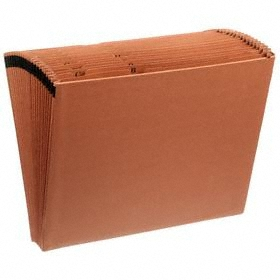 Expandable File: 10 7/8 in Lg, 12 5/16 in Wd, Brown, 15 in Expanded Wd, Std, 18 Haz Material Indicator, (31) Pockets