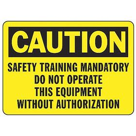 Accuform Machine Safety Sign: 7 in Overall Ht, 10 in Overall Wd, Vinyl, Self-Adhesive, Caution, English, Text, Yellow