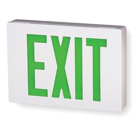 Acuity Lithonia Lighted Exit Sign: 2 Faces, Directional Indicators, Green, 7 7/8 in Overall Ht, 11 3/8 in Overall Lg
