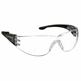 Elvex Bifocal Safety Reading Glasses: Clear, Wraparound Frame, Scratch Resistant, Black/Gray, ANSI Z87.1-2010 (+), Polycarbonate, All industries