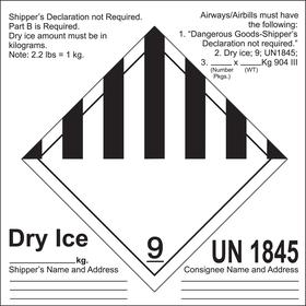 DOT Hazardous Material Label: Dry Ice UN1845 9, 6 1/2 in Label Ht, 6 1/2 in Label Wd, Paper, 100 PK