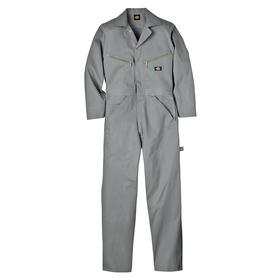 Dickies Deluxe Cotton Coverall: 100% Cotton, Gray, Zipper, Men, Shirt Collar, 44 in Max Chest Size, L Size, Snap