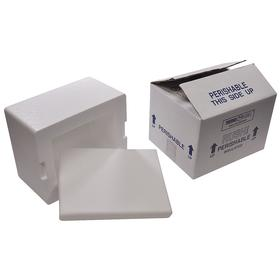 Insulated Shipping Kit: Cuboid, Container with Shipping Box, Corrugated/EPS, 8 in Interior Lg, 6 in Interior Wd, White, 4 PK