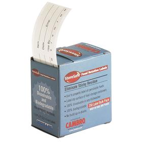 Food Storage Label: 250 Labels per Roll, Dissolvable, Removable, 1.25 in Label Ht, 2 in Label Wd, White, 24 PK