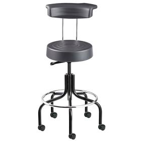 Bevco Ergonomic Stool: Ergonomic Stool with Back, Plastic, 25 1/4 to 30 1/4 in Seat Ht Range, 14 1/2 in Seat Wd, Graphite