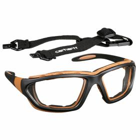 Carhartt Safety Glasses: Clear, Full Frame, Anti-Fog/Scratch Resistant, Black/Brown, Nylon, Adj Arms, Adj Temples