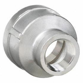 Threaded Stainless Steel Reducing Coupling: 316 Material Grade, 150 Class, 1/2 Pipe Size (Port 1), 1/4 Pipe Size (Port 2)