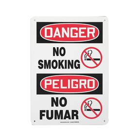 Accuform No Smoking Sign: 14 in Overall Ht, 10 in Overall Wd, Vinyl, Self-Adhesive, Danger/Peligro, English/Spanish
