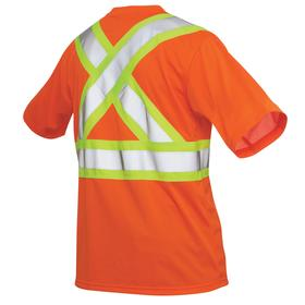 ANSI Class 2 High Visibility Safety T-Shirt: XL Size, Polyester, Fluorescent Orange, Pullover, Men, 48 in Max Chest Size, Silver