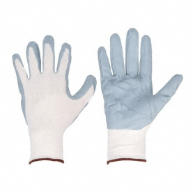 Work Glove: Coated Fabric Glove, L Size, Palm Dip, Nylon, Nitrile, Smooth, Knit Cuff, Gray/White, 1 PR