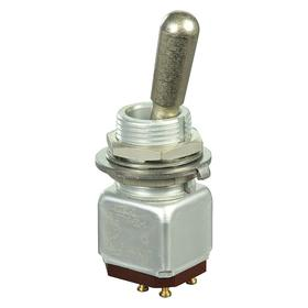 Miniature Toggle Switch: 1/2 in Mounting Hole Dia, 3 Positions, 5 A @ 28V DC Switch Rating, 2 Poles, Off-On, Maintained