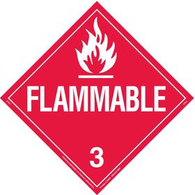 Brady DOT Vehicle Placard: Flammable 3, 10 3/4 in Overall Ht, 10 3/4 in Overall Wd, Vinyl, Self-Adhesive