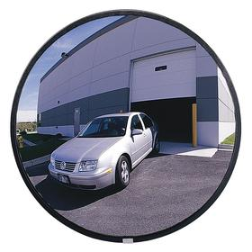 Safety Mirror: Coated Hardboard, 18 in Dia, 15 ft Viewing Distance, Vinyl Coated Aluminum, Outdoor, Circular