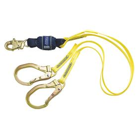 DBI Sala General Purpose Shock Absorbing Lanyard with Integrated Anchor: 6 ft Working Lg, 2 Legs, Fixed Lg, Snap Hook, Yellow