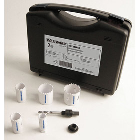 Hole Saw Assortment: For Removable Arbors (Included), Bi-Metal (High Speed Steel), Maint, 5 Hole Saws, 7 Pieces, 293R981