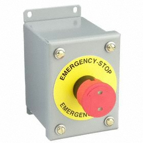 GE Emergency Stop Push Button Station: Red, 4.25 in Overall Wd, 5 in Overall Ht, 3.5 in Overall Dp, 1NC Pole-Throw Configuration, Round, Metallic Body