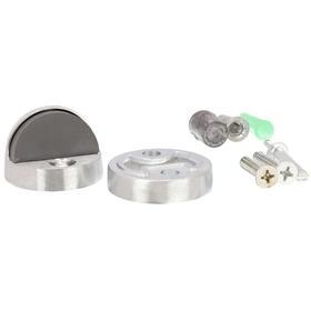 Dome Door Stop: Floor, 1 3/4 in Base Dia, 1 1/2 in Ht, Brass, Satin Chrome