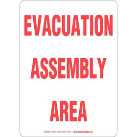 Brady Emergency Assembly Point Sign: 14 in Overall Ht, 10 in Overall Wd, Plastic, Mounting Holes, Text, White
