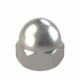 "Low Crown Acorn Nut: Steel, Plain, 7/8""-14 Thread Size, 7/8 in Thread Dp, 1 23/64 in Overall Ht"
