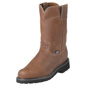 Pull-On Leather Work Boot: Western Boots, 2E Shoe Wd, 9 Men's Size, Men, Steel, 10 in Shoe Ht, Brown, Wide Toe Cap, 1 PR