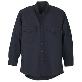 Workrite Flame-Resistant Collared Shirt: 2 Hazard Risk Category (HRC), 8.7 cal/sq cm Max Arc Flash Protection, Cotton/Nylon, Navy, Button, 2 Pockets