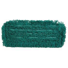 Dust Mop Head: Slip On, Looped End, 24 in Lg, 5 in Wd, Washable Microfiber, Green, Polyester, 18 Haz Material Indicator