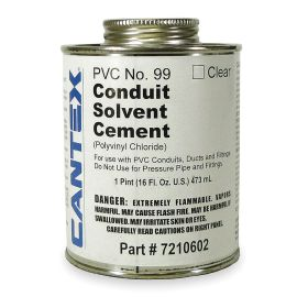 Cantex Sealant for Unthreaded Plastic Pipe: PVC, 0° F Min Op Temp, 100° F Max Op Temp, Clear, 16 fl oz Size, Can