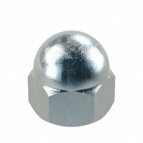 Standard Crown Acorn Nut: Steel, Zinc Plated, 12-24 Thread Size, 7/32 in Thread Dp, 13/32 in Overall Ht, 25 PK