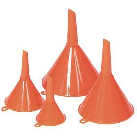 Funnel Set: 0.75 fl oz/10 fl oz/2 fl oz/6 fl oz Total Capacity, Round, 4 Pieces, Orange